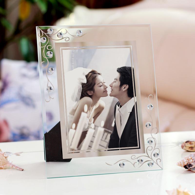 蝶戀花7寸8 10寸點鑽玻璃水晶相框擺台 影樓鑲鑽婚慶婚紗照片