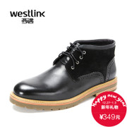 Westlink/2015 West New England casual warm winter wool stitching leather strap men's boots