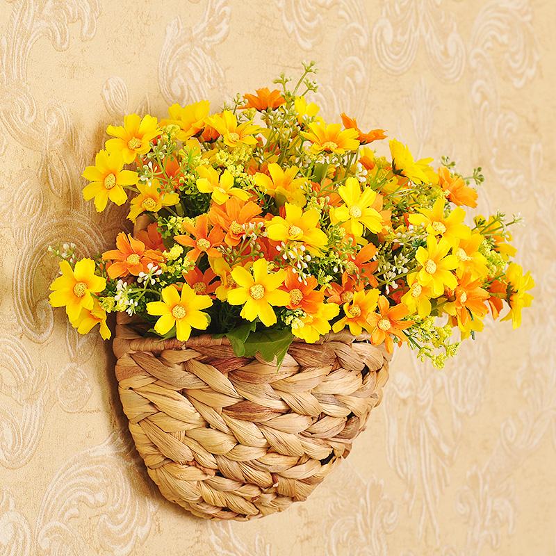 采薇 仿真花套裝藤編花籃壁掛 假花雛菊絹花田園客廳牆壁裝飾花藝