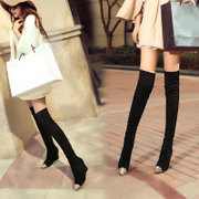 Autumn 2015 wedges boots nubuck elastic boots high boots Korean version of over the knee high heel women boots, Knight boots