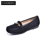 Fondberyl/feibolier-fall 2015 new Sheepskin metal round head low women's shoe FB53113331