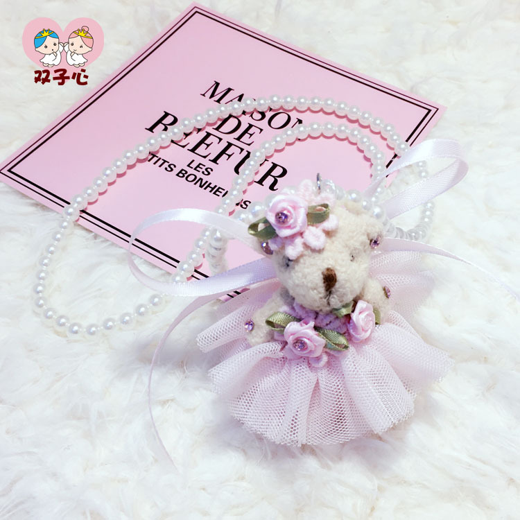 Package mail Korean childrens necklace cloth bear fashion versatile pearl sweater chain long girl clothing accessories pendant