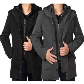 2015秋冬新款男士風衣英倫修身假兩件中長款加厚大衣男裝休閑外套圖片