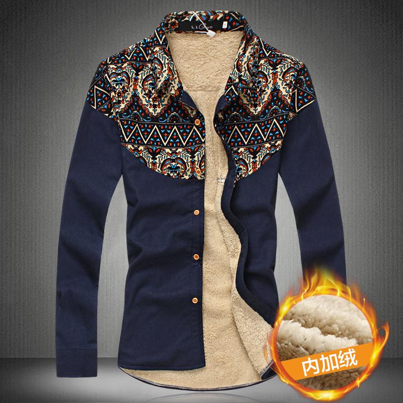 Зима и плюшевые мягкие длинный рукав рубашка мужчины XL плюс удобрения Корейский теплые цветочные футболка тонкий прилив мужчины