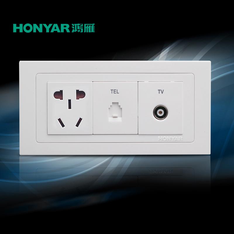 Hongyan переключатель Socket Yiya 118 Series Five Hole Телефон ТВ 154 Размер новый страна стандартный скрытый переключатель