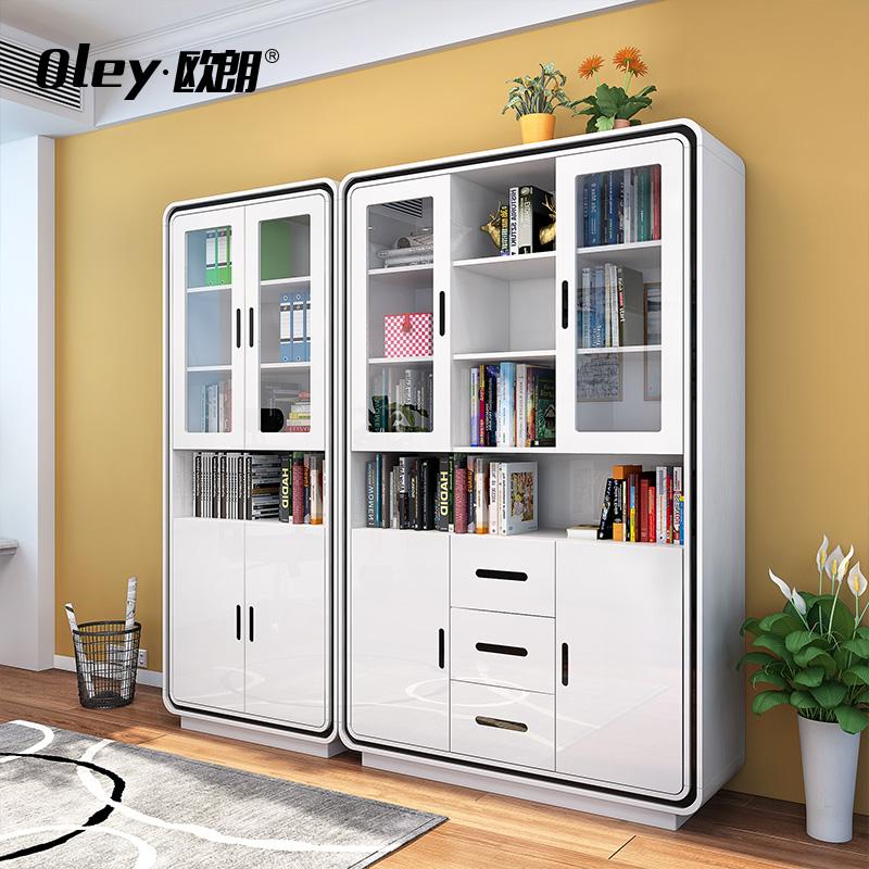 簡約三門書櫃書桌書架自由 書房烤漆玻璃門簡易 櫃子