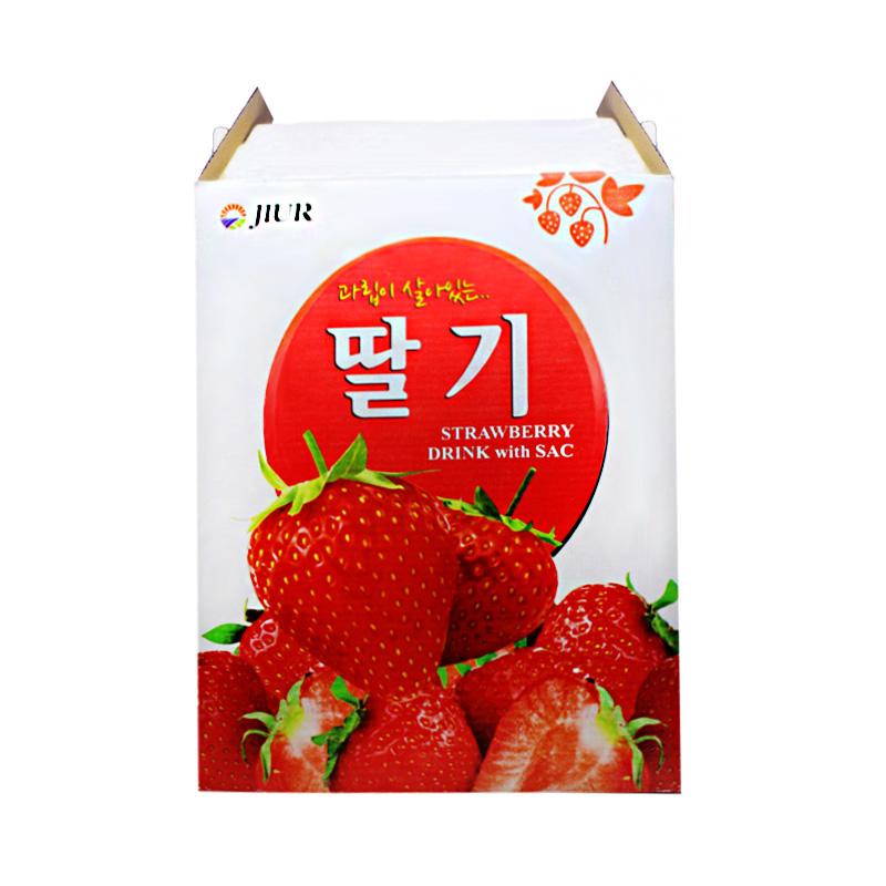 ~天貓超市~韓國 九日草莓汁果肉飲料甜味238ml^~12聽 盒年貨