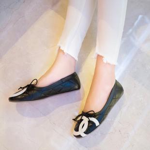 陌妲2017舒适软皮子时尚欧美女鞋羊皮女平底鞋圆头蝴蝶结平跟单鞋