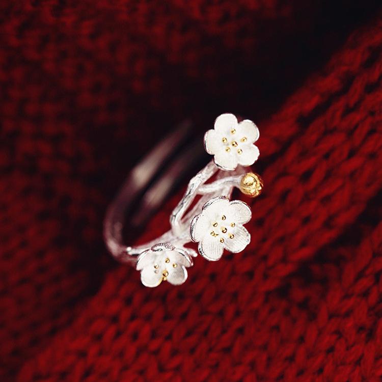 韩国s925纯银饰品戒指女文艺梅花食指指环开口小清新花朵手工戒指