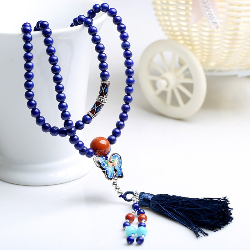 Ugly year 5A Royal lapis lazuli Buddha bead bracelet new Thai silver necklace sweater chain crystal hand 2021