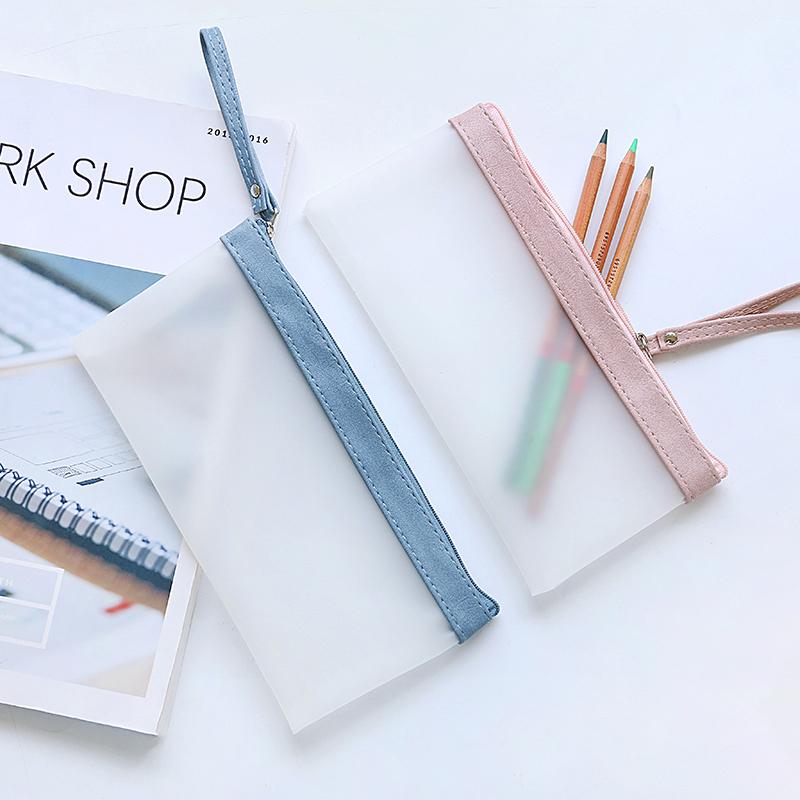 三年二班 创意小清新铅笔袋半透明磨砂笔袋大容量简约女生文具袋