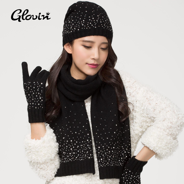 GLOVIN и новые корейской моды бурение ручной горячей зимой шерстяные шляпы шарф перчатки 33 комплект с самкой