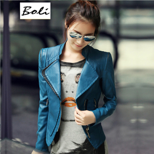 Silk Li Weizhen 2015 Autumn Korean Women PU leather jacket women short paragraph Slim leather jacket XL women