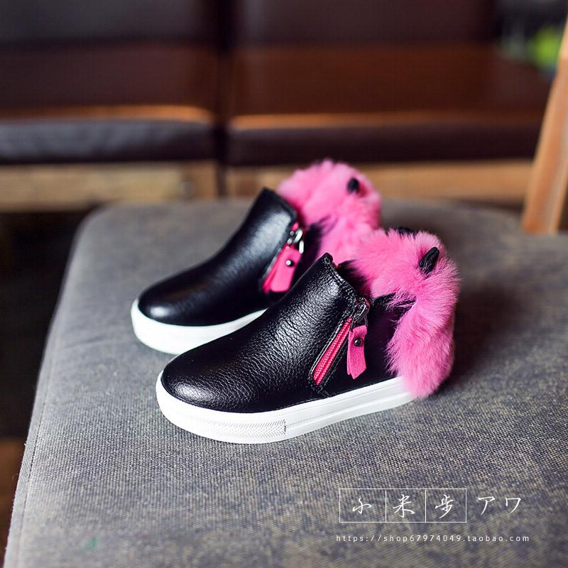 Дети в 2015 году Зимние сапоги девушки кожаные сапоги и хлопок Ангора Детские пинетки Мартин сапоги теплая обувь