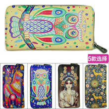 New graphic handpainted graffiti restoring ancient ways is han edition coloured drawing or pattern leather passport women's long zipper leather purse