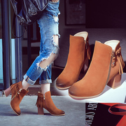 New genuine leather tassel boots chunky heels short boots for fall/winter in England with Martin adding high boot nubuck leather women boots
