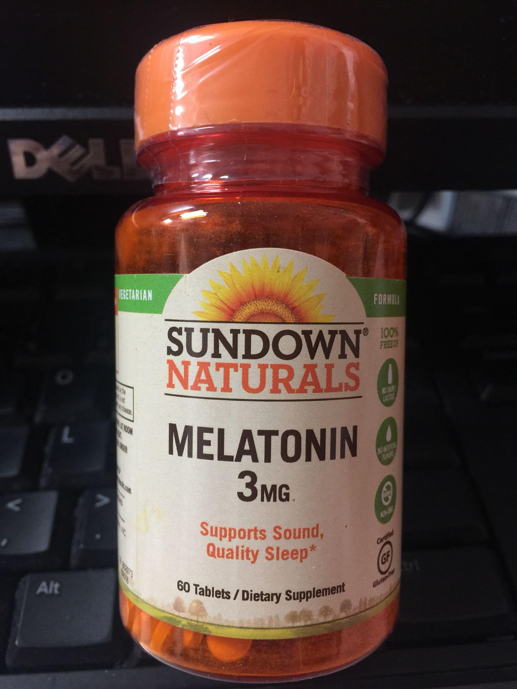 Mia美国 Sundown naturals Melatonin褪黑素 3Mg 60粒
