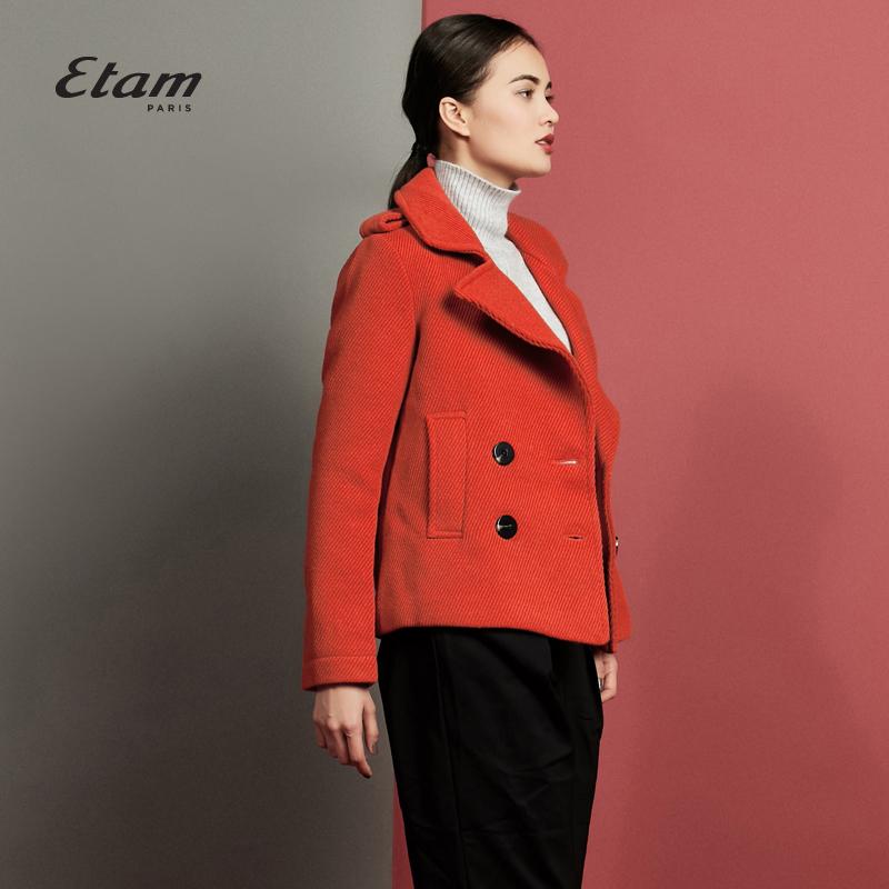 艾格 Etam 純色駁領雙排扣外套150121198
