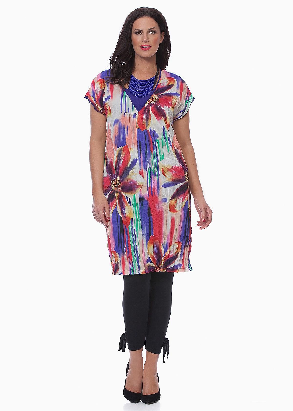 *晶品大码*---澳大利亚TS品牌高档女装 彩虹大花图案裙衫