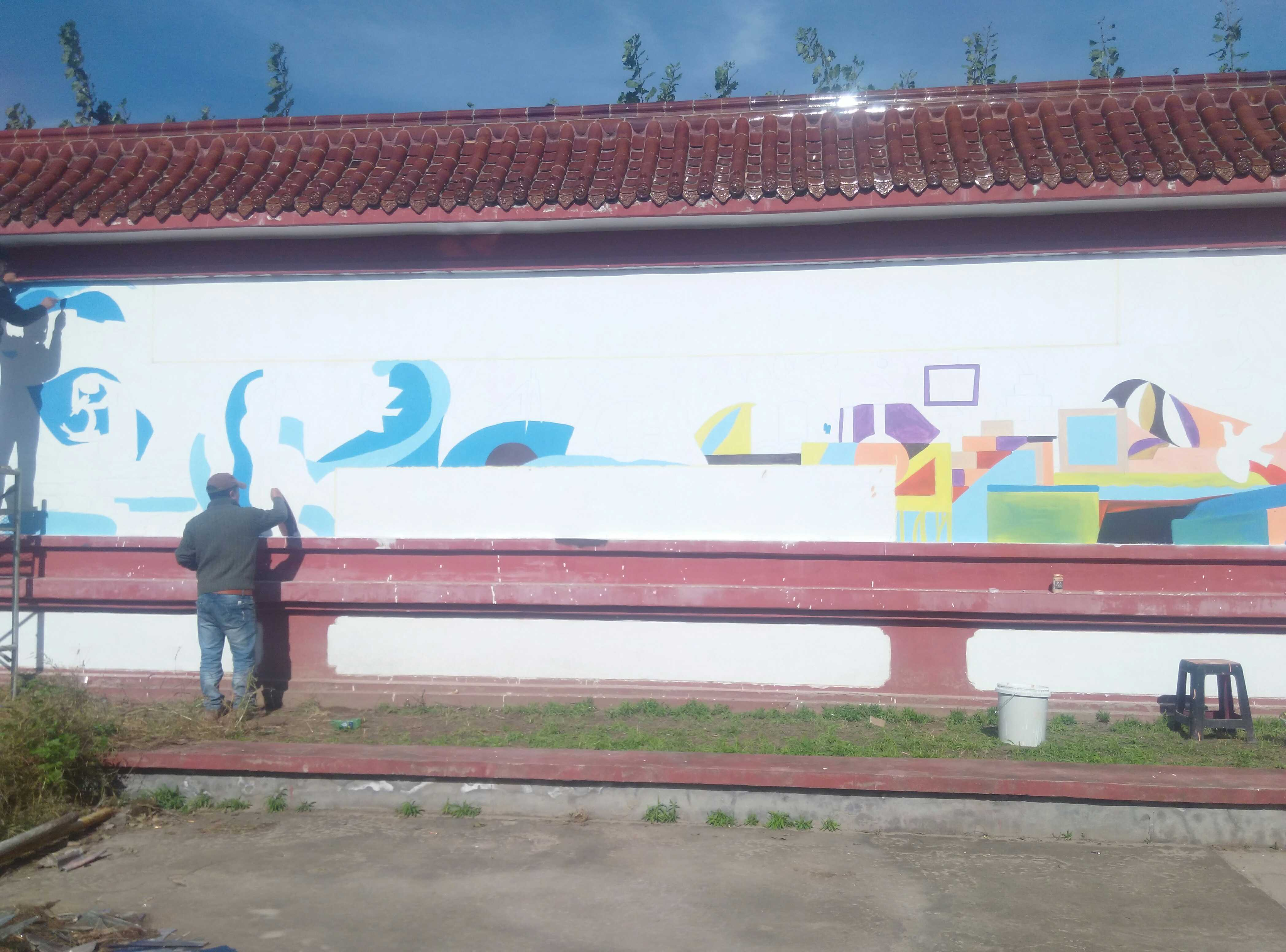 On site painting of handmade cultural wall, school cultural wall, green environmental protection, ecological health, painters door-to-door painting