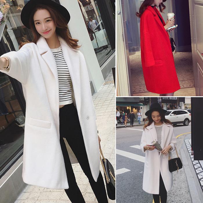 2016 весной новый Корейский моды дикий темперамент отворотом чистого цвета длинной шерсти пальто женщин