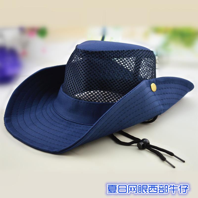 男女の夏のジャングルの純色の西部のカウボーイ帽子の日よけ帽子の網の目の外の日よけ帽子の徒歩の釣り帽子