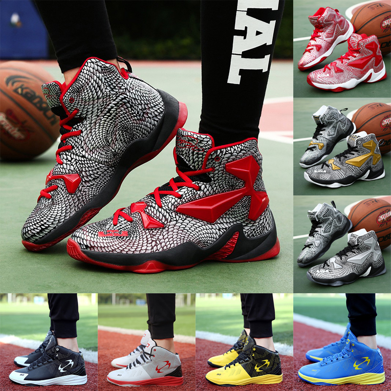 高幫大碼潮流戰靴學生內增高球鞋耐磨防滑青少年籃球鞋水泥地球鞋