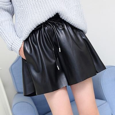 皮裤女短裤秋冬季pu皮2018新款韩版宽松高腰显瘦阔腿a字外穿靴裤