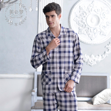 To dream of spring/summer 2015 new knitting cotton men's pyjamas Leisure long-sleeved cotton grid leisurewear suit