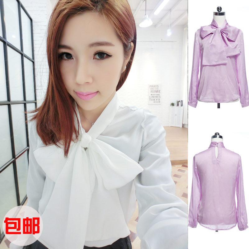 2014 autumn / winter new small fragrance qiansong Yi Tai silk big bow tie simulation silk satin shirt shirt