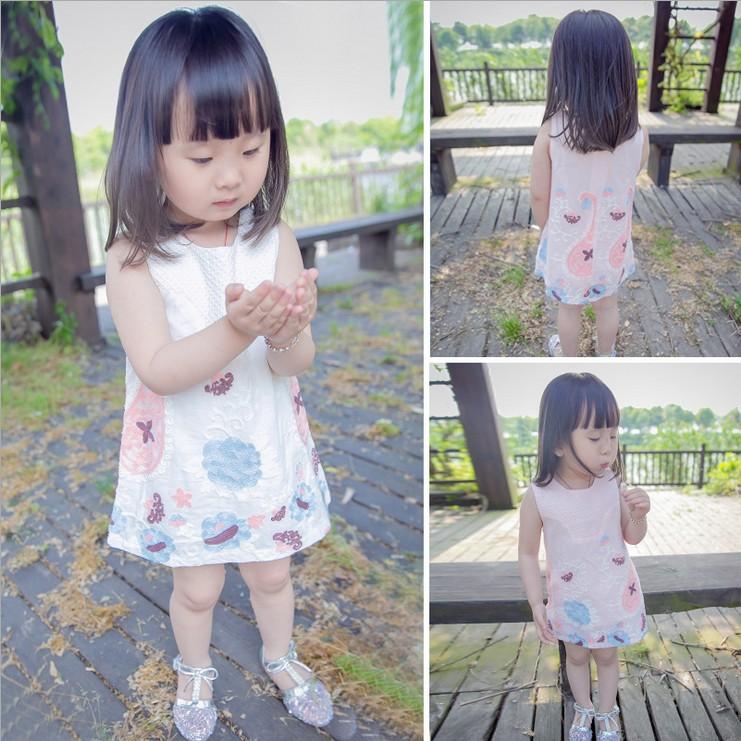 Новые девушки ребенок дети девочек детей принцесса платье сарафан лето платья-1-2 3 4