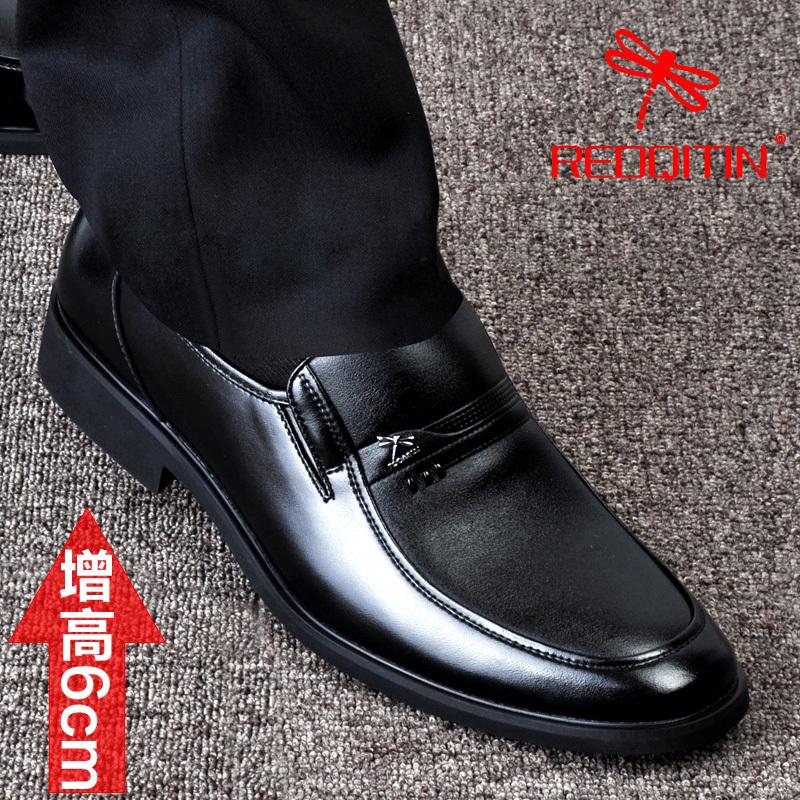 冬季男士皮鞋真皮隐形增高皮鞋头层牛皮男鞋商务休闲加绒加棉鞋