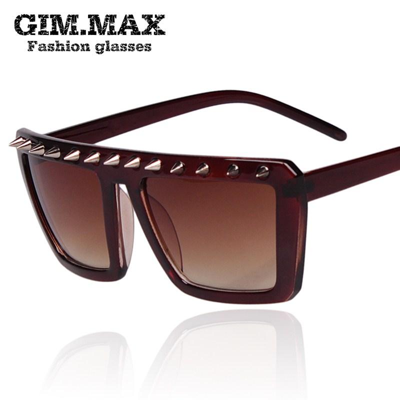 GIMMAX с шипами заклепки дамы большой ящик на панк очки солнцезащитные очки мужчин очки корейской моды