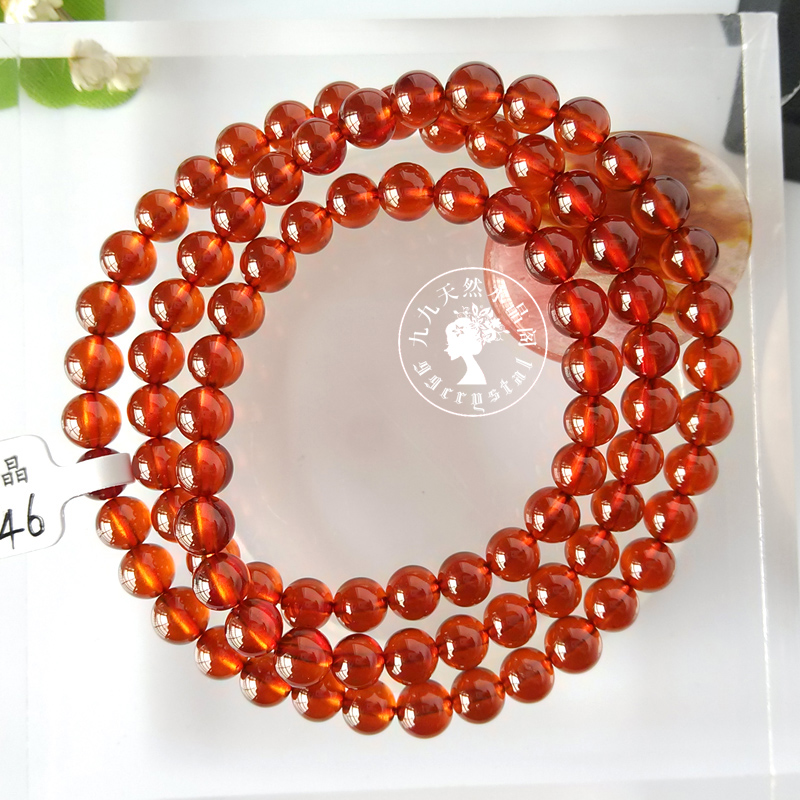 Natural high-quality manganese aluminum garnet orange Garnet Bracelet with multiple circles and three circles, all clean cattle goods, one thing and one picture