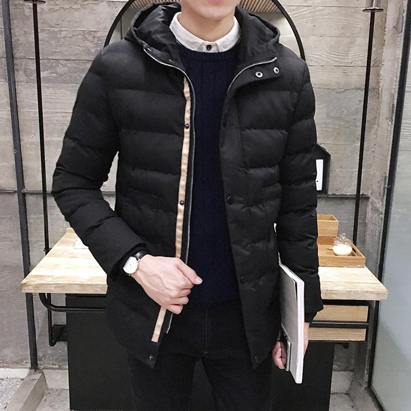 男士棉服 青年棉衣男裝加厚保暖中長外套潮男修身連帽冬衣