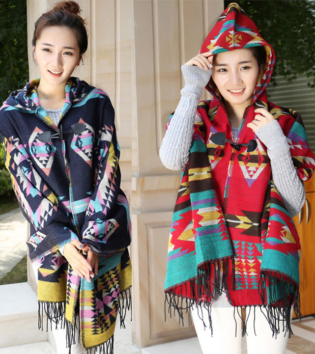 National style imitation cashmere cape Cape hat autumn and winter thickening warm air conditioning shawl coat scarf dual purpose female