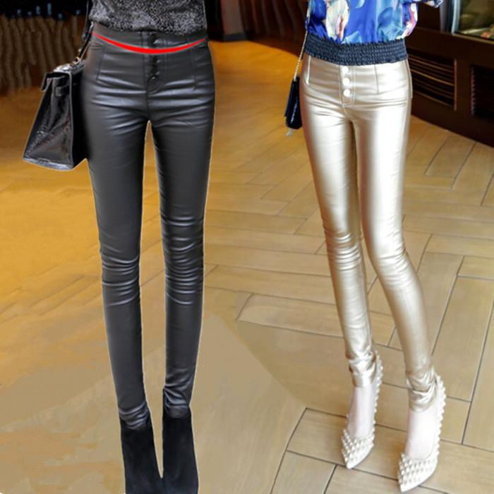 Европе к 2015 году новых осенью и зимой двубортный тонкий леггинсы носить брюки ноги девушка туго тонкие кожаные штаны