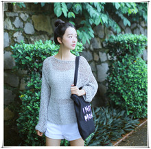 Autumn small han edition, the new girl is pure and fresh and thin sweater coat long sleeve short unlined upper garment sweater render women