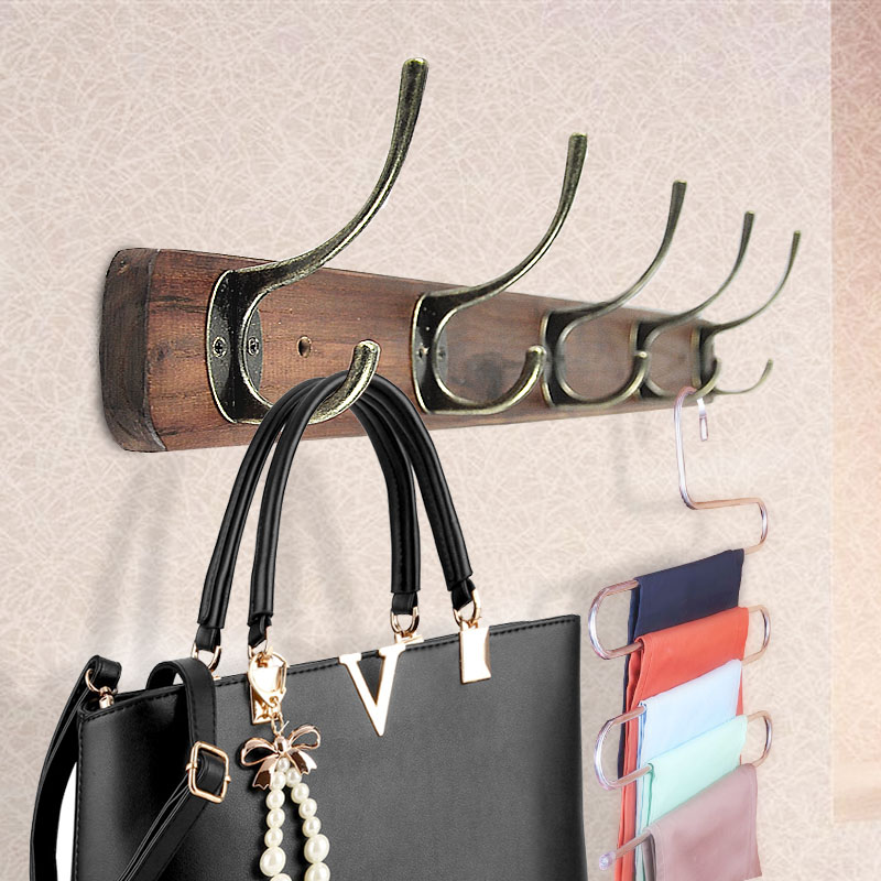 複古衣帽架壁掛置物架 臥室掛衣架牆壁掛鉤客廳實木衣架衣鉤