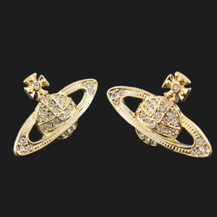 United Kingdom vivienne Xiaofan NANA golden Saturn full of diamond earrings earring ear Ding VE38010553 4
