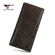 Septwolves authentic man long dermal exposure purse serpentine wallet manual head layer cowhide high-capacity wallet
