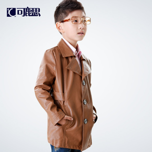 Deer think children can be children s spring 2016 new single breasted leather jacket leather boy Zhongda children