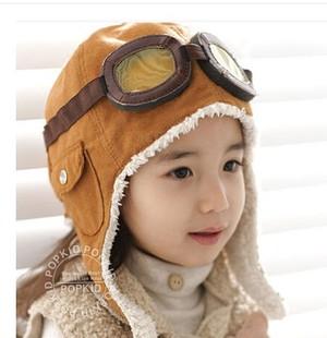 韩国儿童飞行员帽宝宝眼镜帽子宝宝冬款护耳帽婴儿空军帽厚款帽子