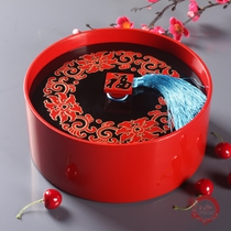 Jin Yuanheng new Chinese painting with cover split dried fruit box candy box red Han grain fruit tray basket Home Decoration