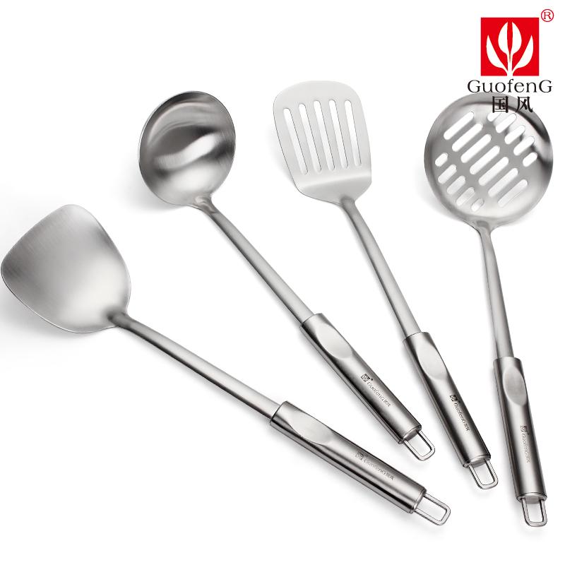 國風304不鏽鋼鍋鏟套裝勺漏廚房用具湯勺炒菜鏟子漏勺