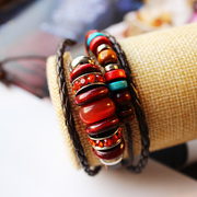 Bracelets woman fashion pink beaded bracelet-punk multilayer bracelet cord adjust the imitation leather bracelet women''s