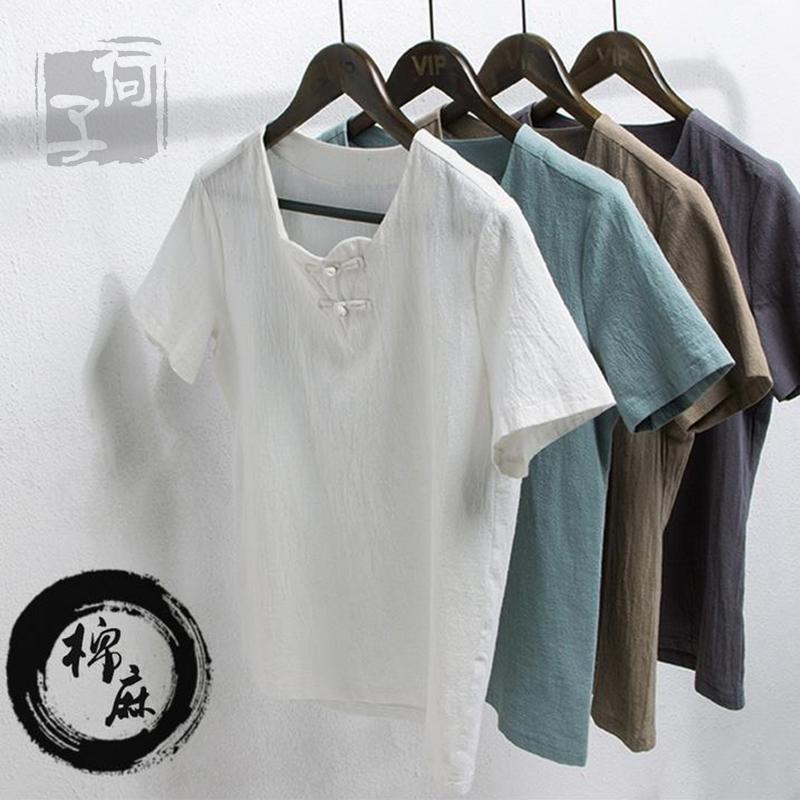 Китайский стиль хлопок t рубашка мужская плюс размер v шеи сплошной цвет белья короткий рукав t рубашка молодости ретро Народный стиль slim Мужская