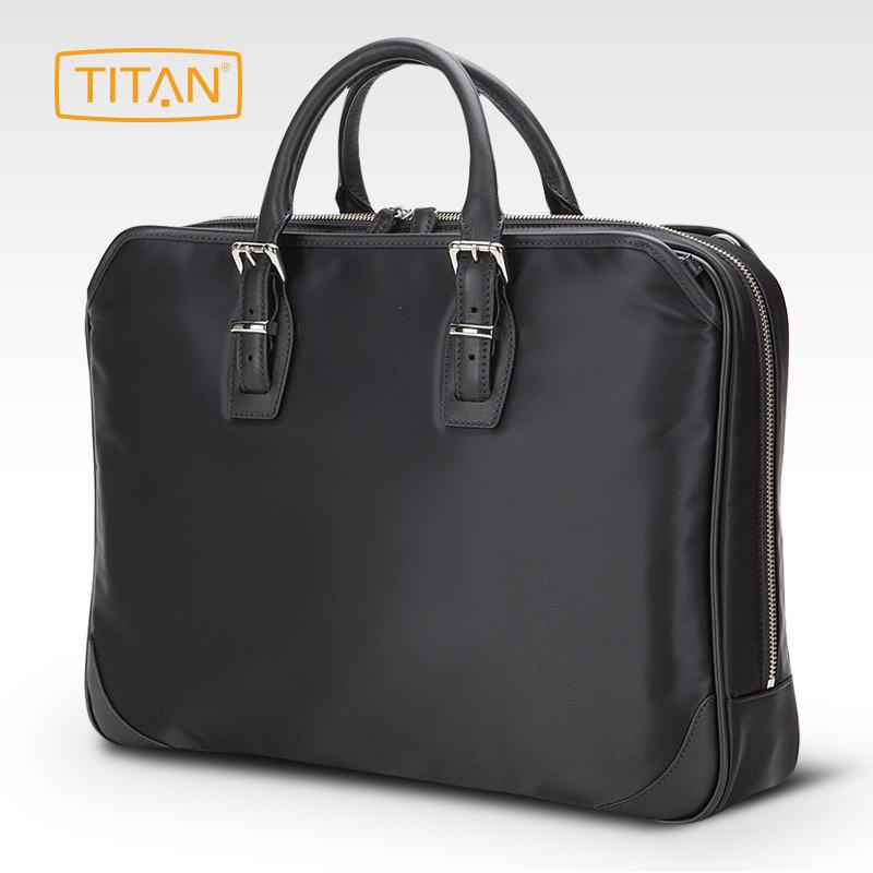 TITAN德国Manhattan单肩手提包尼龙牛皮电脑包男士公文包369438