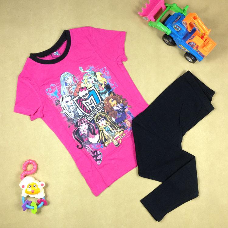 Кодов неисправностей 120 внешней торговли Детская одежда летом хлопок ragazza монстра средней школы в детской пижамы костюм с короткими рукавами