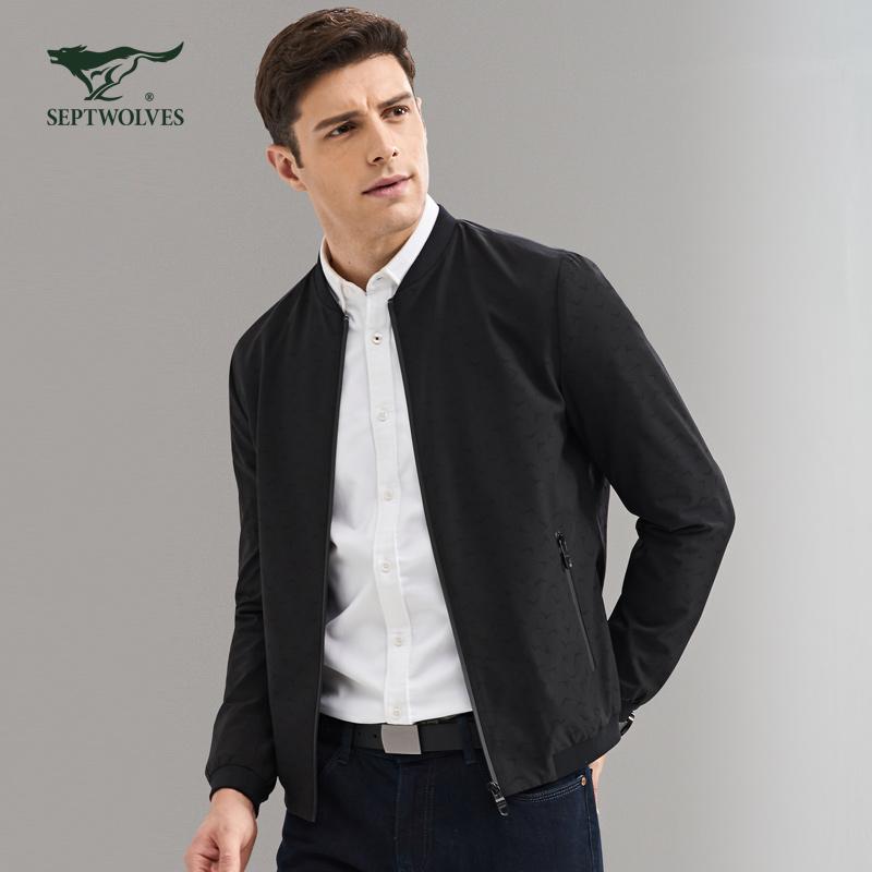 七匹狼夹克 2017秋新款商务休闲男棒球领jacket 时尚茄克外套